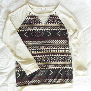 Aztec Tribal Print Green Burgundy Sweater Medium